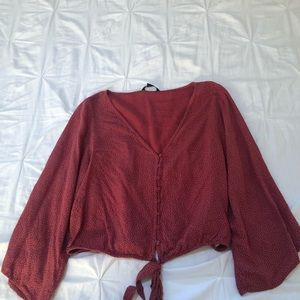 American Eagle vneck blouse with front tie